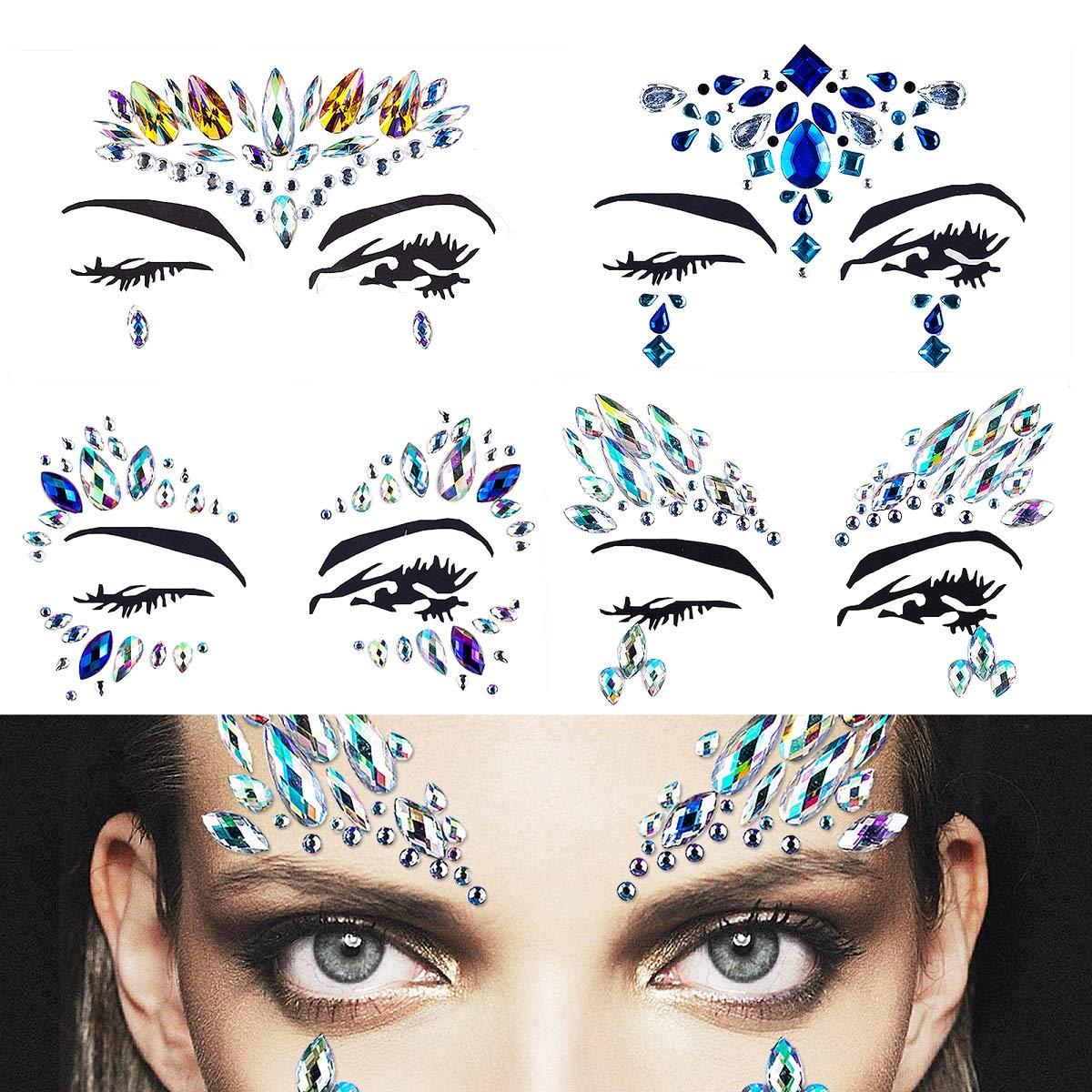 Gemme viso gioielli corpo in cristallo glitter adesivi temporanei, gioielli adesivi strass faccia per festival party rave occhi viso corpo fronte decorazioni (4 set) MissSpicy