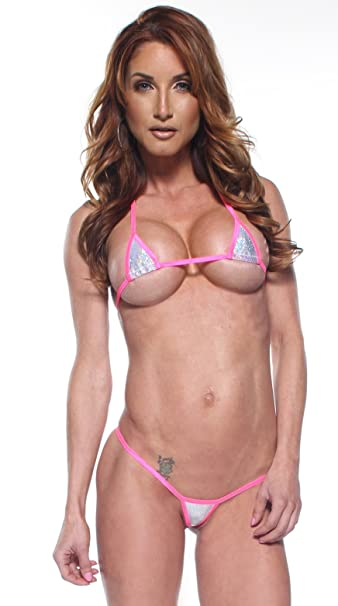 728214aa800 Amazon.com: Sparkly Silver w/ Pink Euro-Style Mini Micro G-String Bikini  Exotic Extreme Tan: Clothing