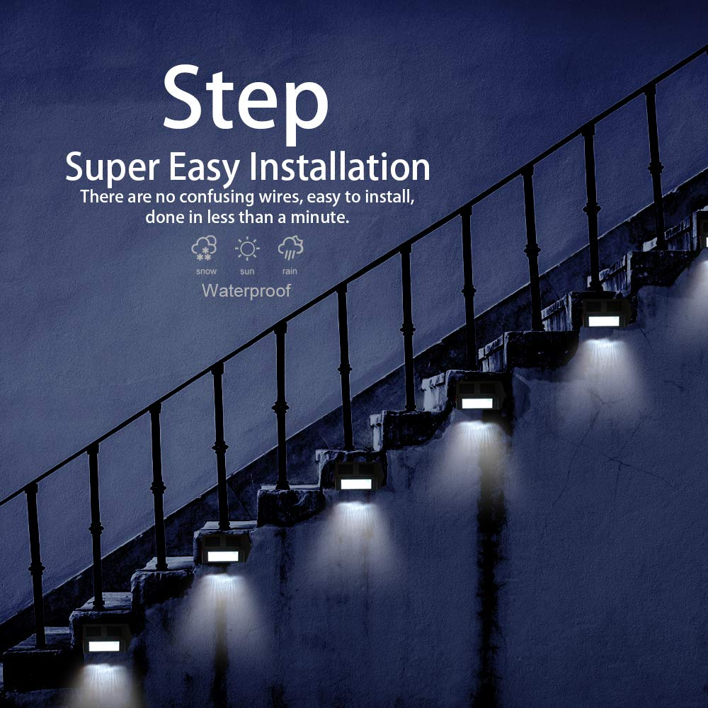 Metal Solar Step Lights, Outdoor Waterproof Lighting Deck Dock Post Fence,  6Pack