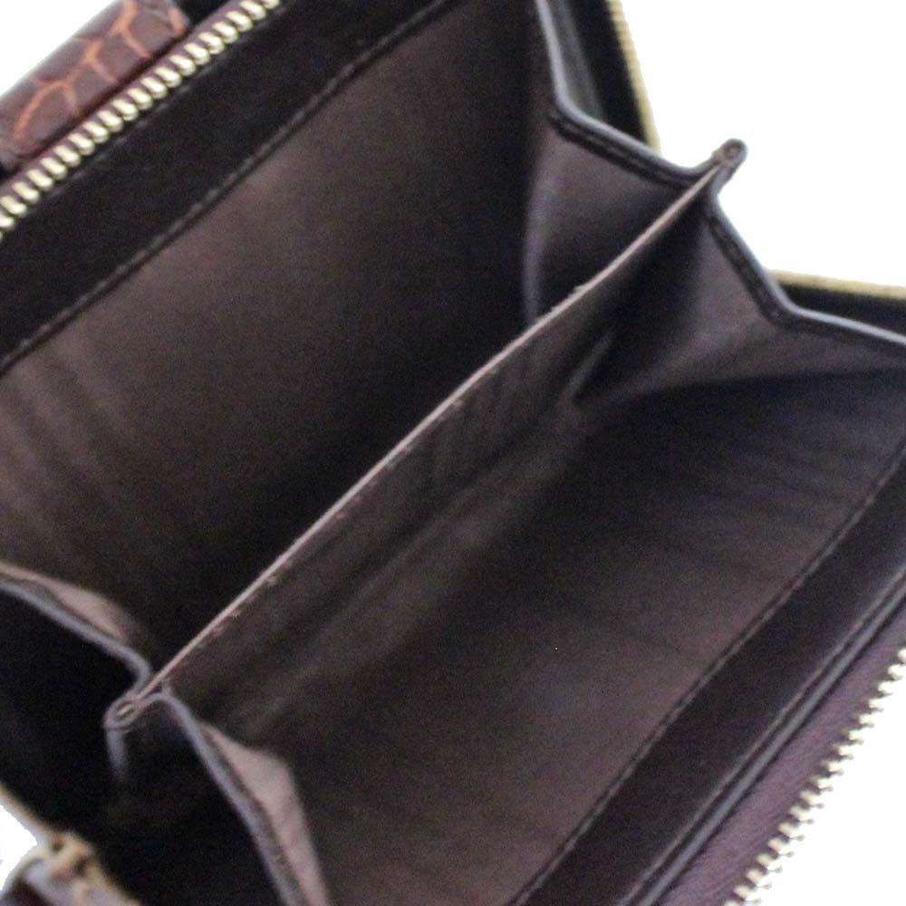 5cf9a3ed1fff Amazon | セリーヌ CELINE マカダム柄 クロコ型 二つ折り財布 ブラウン レディース キャンバス レザー [中古] | 財布
