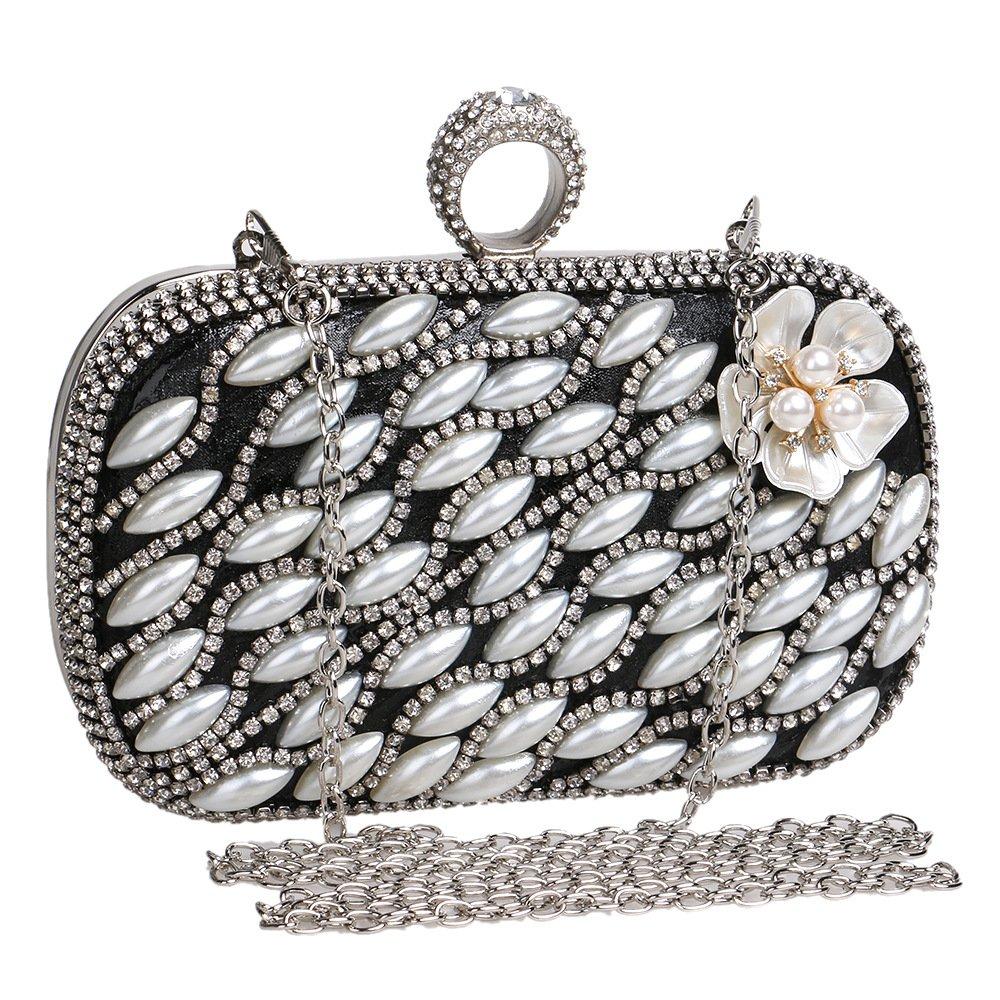 Pearl Evening Bag, Clutch Purse Handbag Shoulder Bag For Women,Crystal Rhinestone Ring Handle Bag