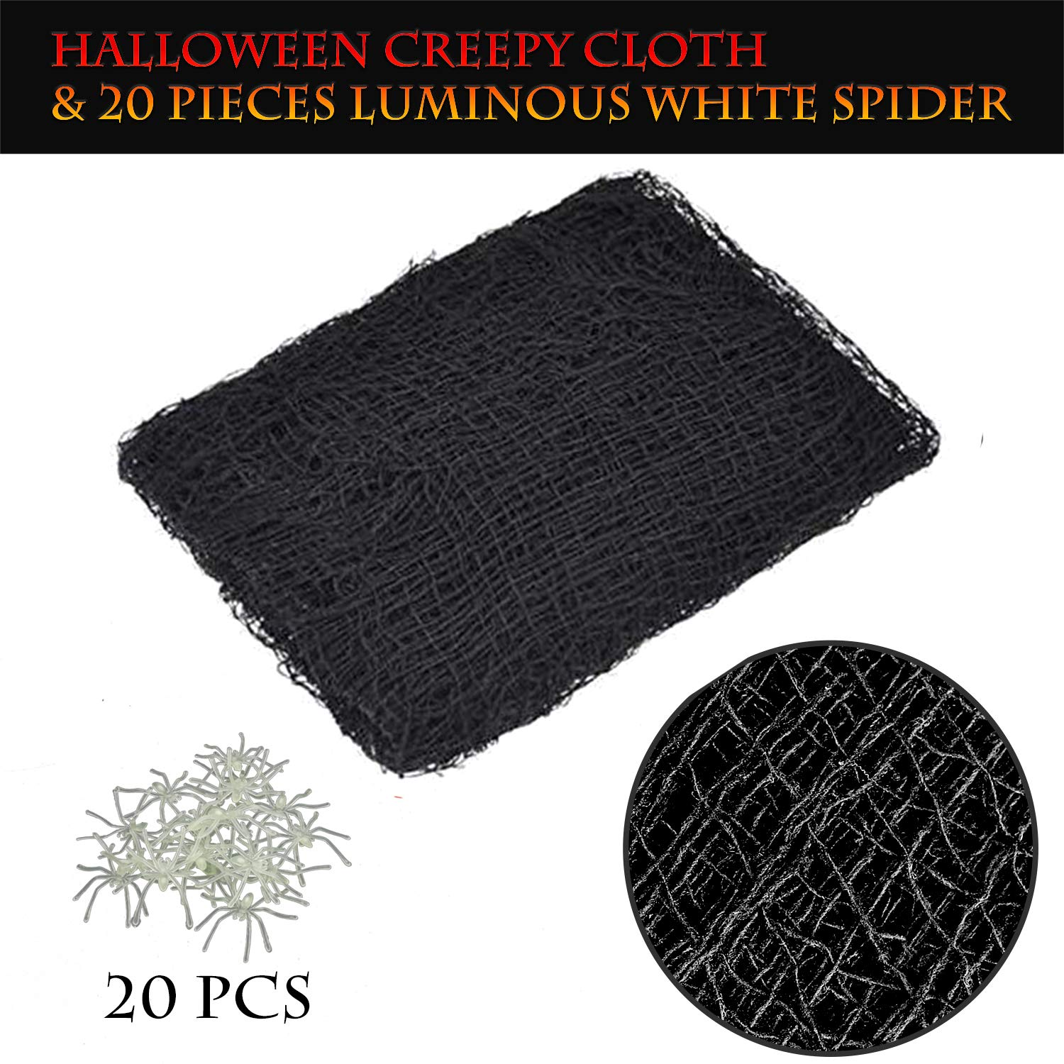 SEVENS 9 Yards Halloween Creepy Cloth Party Supplies Decorations Outdoor Yard House Office Wall Decor with 20PCS Luminous Spiders
