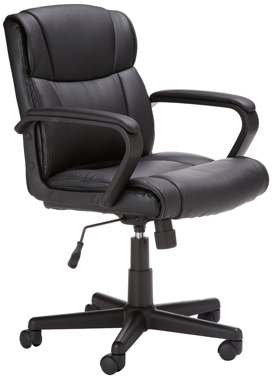 AmazonBasics Classic Leather-Padded Mid-Back Office Desk Chair with Armrest - Black by AmazonBasics
