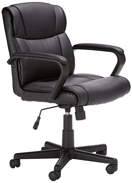 huge selection of 7c24e 6c55d AmazonBasics Classic Leather-Padded Mid-Back Office Desk Chair with Armrest  - Black
