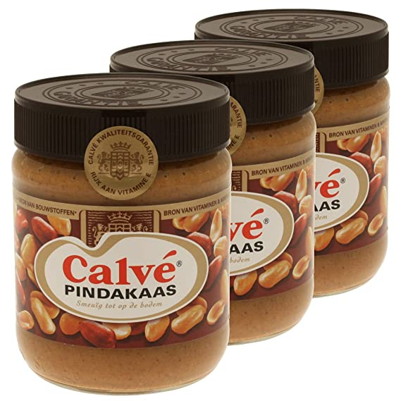 Calvé Pindakaas mantequilla de cacahuate, maní, vidrio, 3 x 350 g: Amazon.es: Hogar
