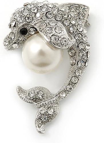 Cristal claro 'delfín con bola de la perla simulada' broche en rodio chapado - 37 mm Longitud