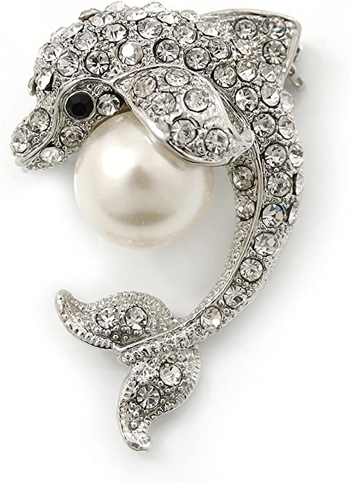 Avalaya Clear Crystal Dolphin with Simulated Pearl Ball Brooch in Rhodium Plating 37mm Length
