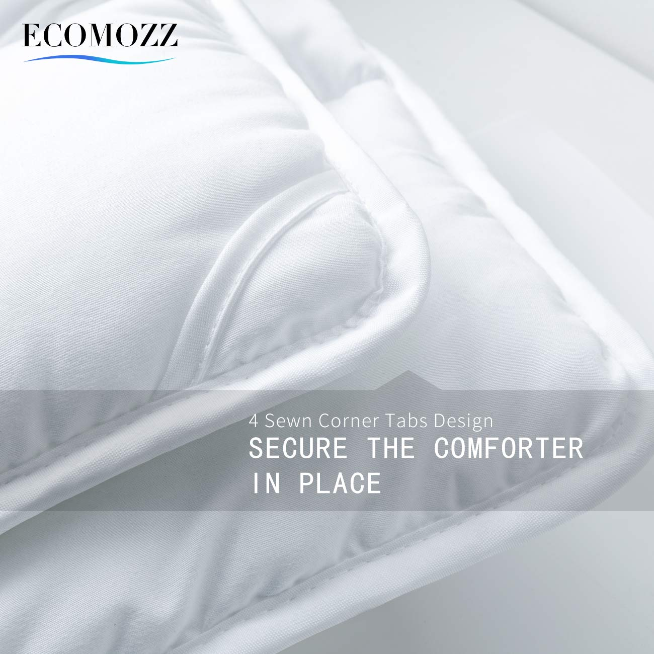 EcoMozz King Comforter with Corner Tabs - All Season Down Alternative Comforter - Soft Warm Quilted Duvet Insert - Hypoallergenic Fluffy Hotel Collection - White by EcoMozz (Image #5)