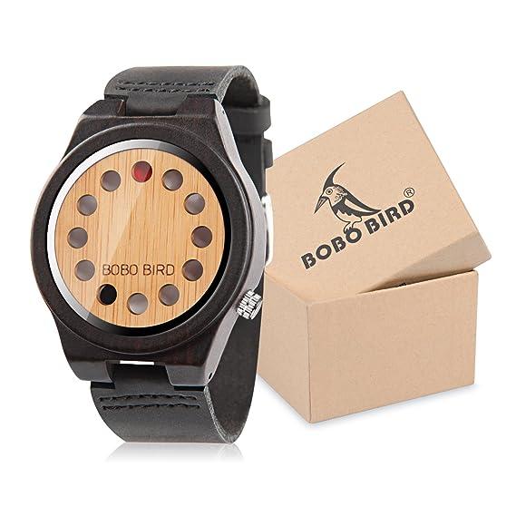 Bobo pájaro Unisex Madera de bambú Relojes 12 Agujeros diseño de Temporizador con Reloj de Pulsera