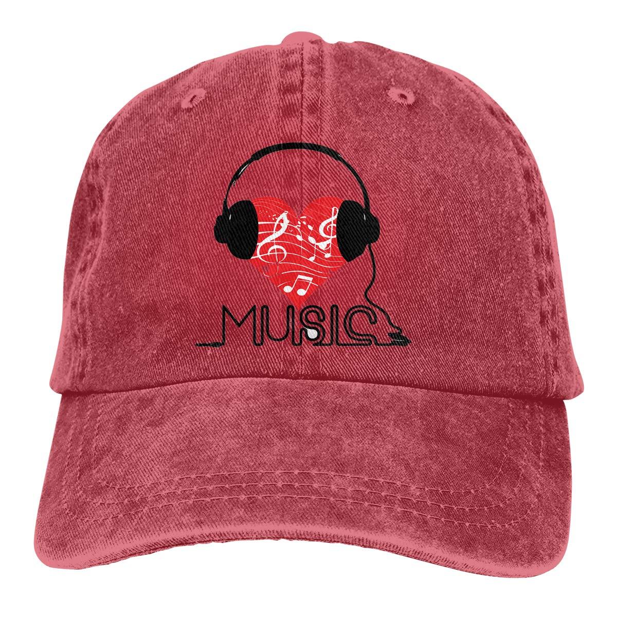 Adult Unisex Jeans Cap Adjustable Hat Love Music Cotton Denim