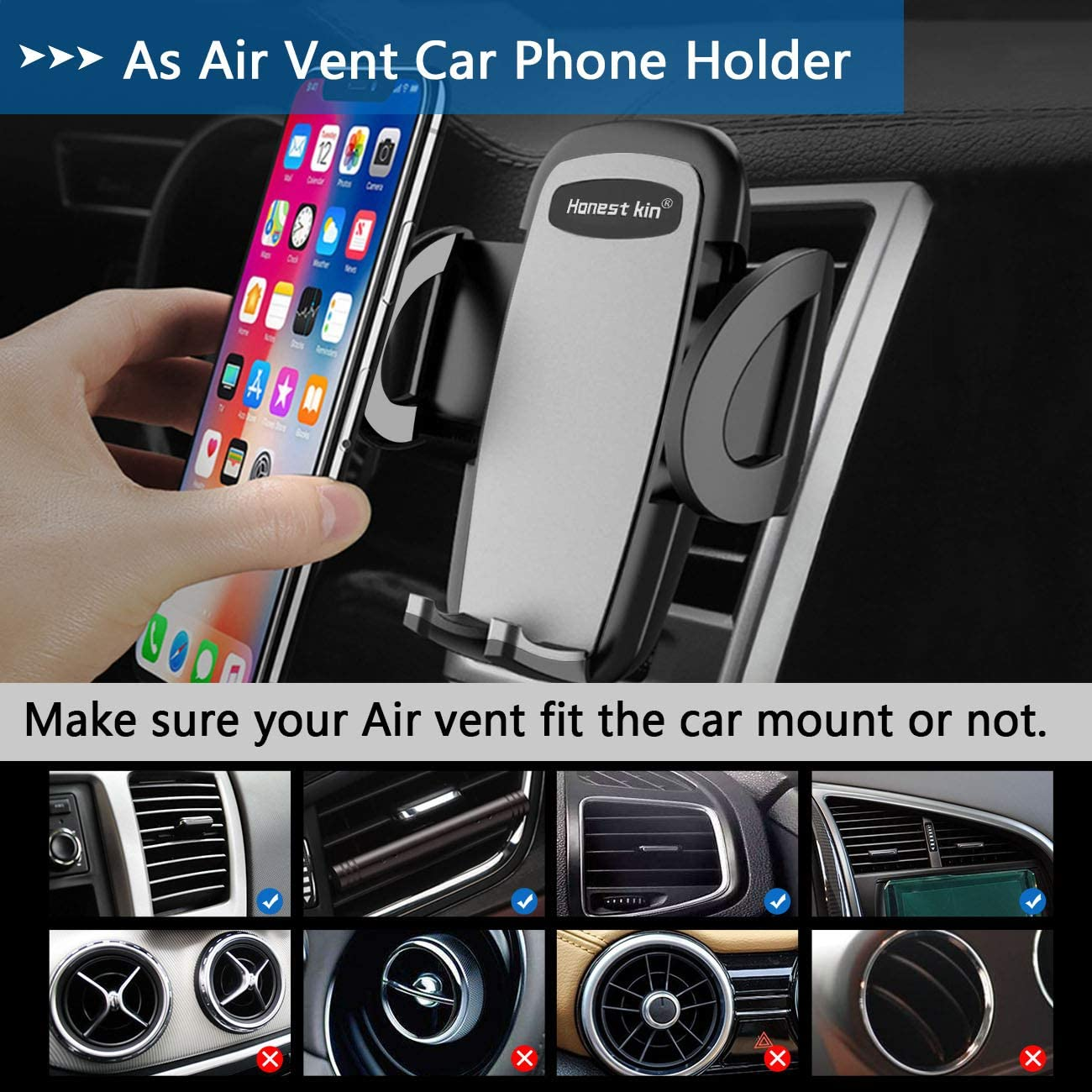 Phone Holder for Car HONEST KIN Long Neck 360 Degree Rotation Car Phone Mount Dash /& Windshield for iPhone 11 X XR XS MAX 8 7 6s Plus Samsung S10 S10E S8 S9 Plus Note 8 9 LG Google