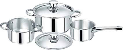 Bergner Acier Stainless Steel Casserole and Saucepan Set, 3-Pieces, Silver Pot & Pan Sets at amazon