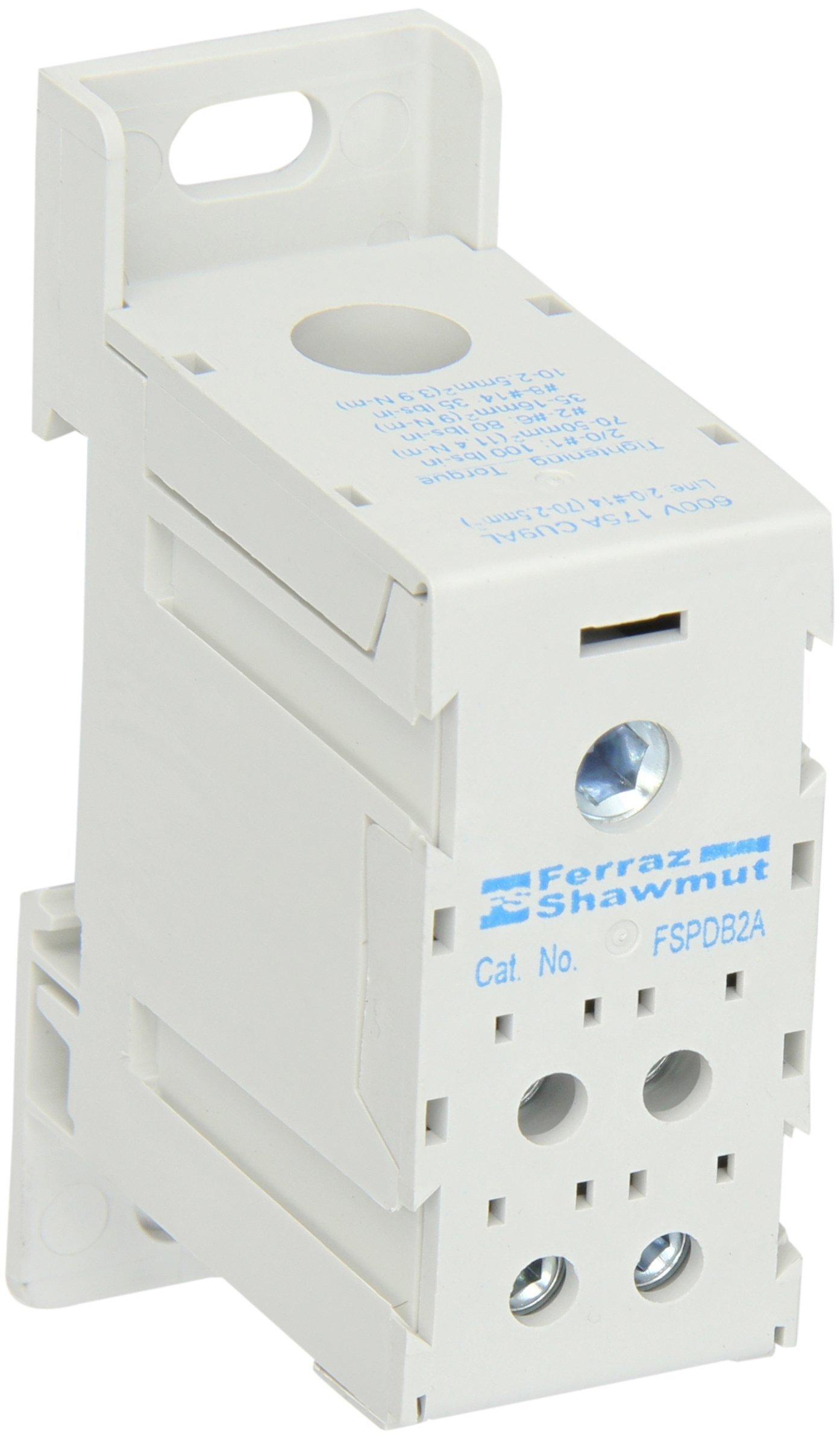 Mersen FSPDB2A Aluminum Finger-Safe Power Distribution Block, 600VAC/DC, 100kA, 175 Ampere, 3-29/64'' Length x 1-1/8'' Width x 2-13/64'' Height