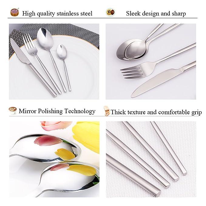 Juego de cubiertos,cuberteria acero inoxidable espejo pulido de plata 4 piezas incluido cuchillo/tenedor/cuchara ...: Amazon.es: Hogar
