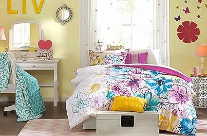Fun Girls Teen Comforter Bedding Set Bright Floral Flowers Pink Purple Aqua  Teal Blue Green Yellow
