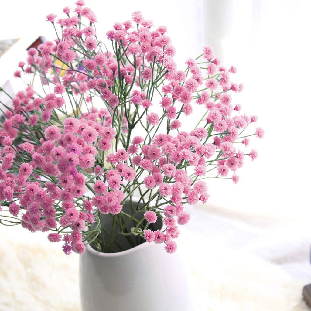 Artificial Flowers Pink/Green Gypsophila Silk Fake Flowers Baby Breath Floral Bouquet for Home Garden Party Wedding Decoration (Hot Pink)