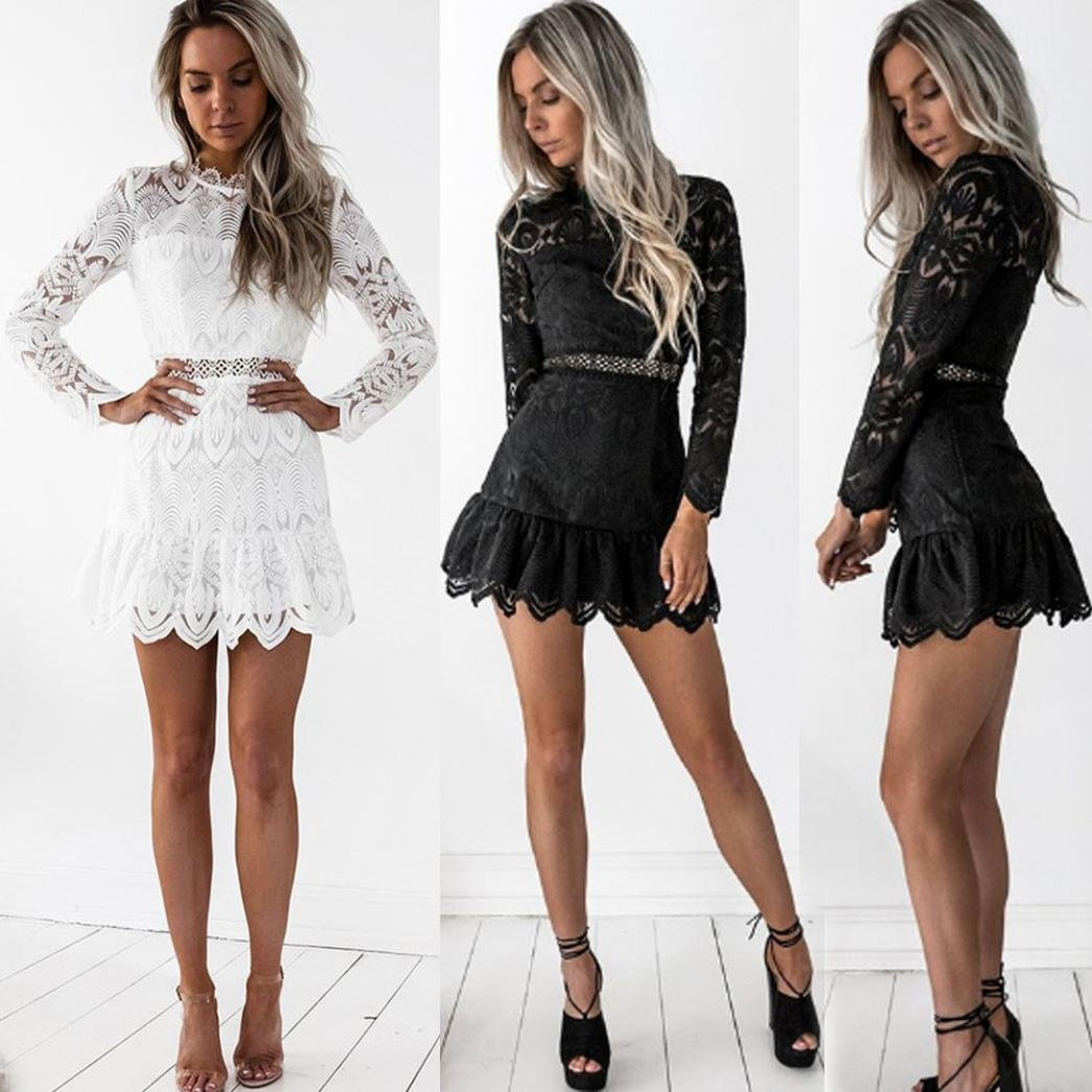 27d2b7f6a213 Auwer Women's Lace Dress, Sexy Lace Long Sleeve Evening Club Mini Dress  Cocktail Party Pencil Dress at Amazon Women's Clothing store: