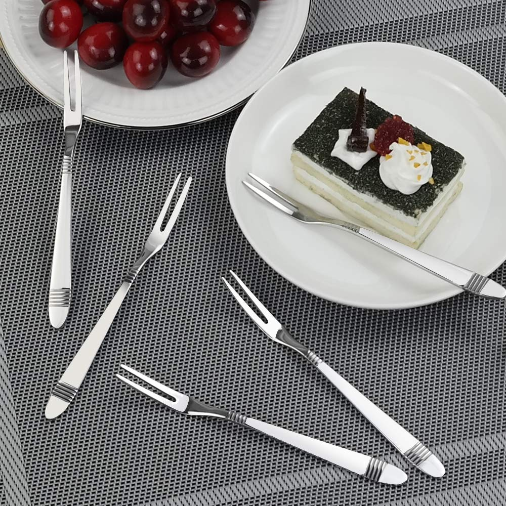 Stainless Steel 12-Piece Dessert Cake Forks Set C134SGC Begale Two Tines Fruit Fork