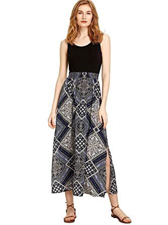9d66b624355 Romwe Women s Summer Sleeveless High Waist Bohemian Print Split Beach Maxi  Dress Black L
