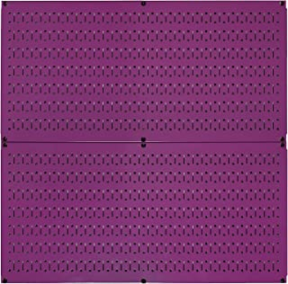 product image for Wall Control Pegboard Rack Horizontal Metal Pegboard Garage Tool Storage Pack - Two 32-Inch Wide x 16-Inch Tall Easy to Install Peg Boards (Purple)