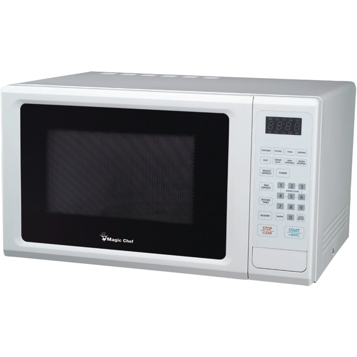 Magic Chef 1.1 cu ft Microwave, 10 power levels 8 auto cook menus (White)