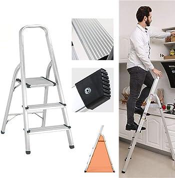 Escalera plegable de aluminio, ligera, compacta, estable, fácil almacenamiento, antideslizante, 150 kg, carga máxima para el hogar, oficina, bricolaje, pintura: Amazon.es: Bricolaje y herramientas