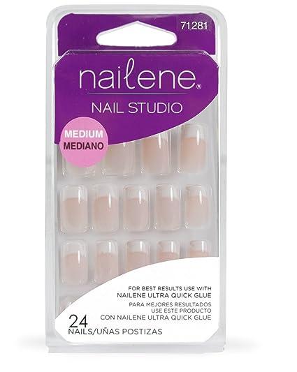 Nailene Nail Studio - Uñas postizas medianas con manicura francesa en color rosa