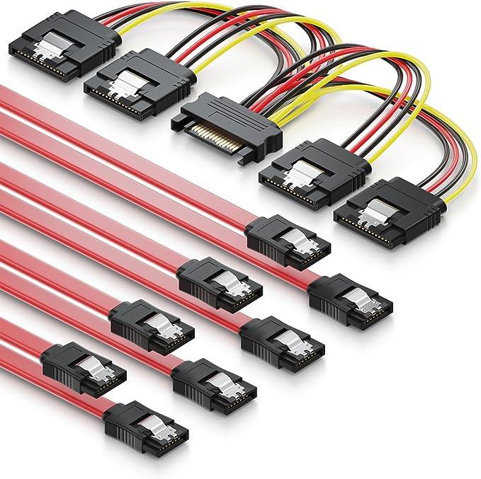 deleyCON Juego de 4X Cables SATA III con Enchufe Recto + Cable ...
