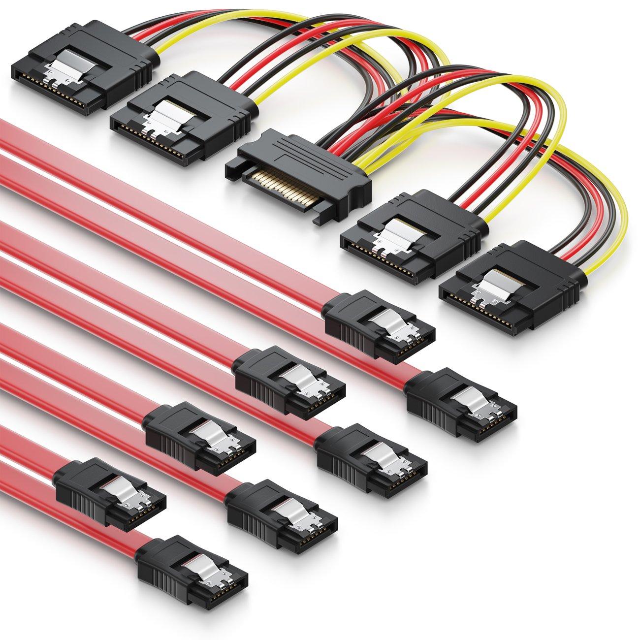 deleyCON MK2945 Lot de c/âbles SATA 2X C/âbles SATA III avec Prises Droites C/âble Adaptateur D/'Alimentation SSD HDD Disque Dur