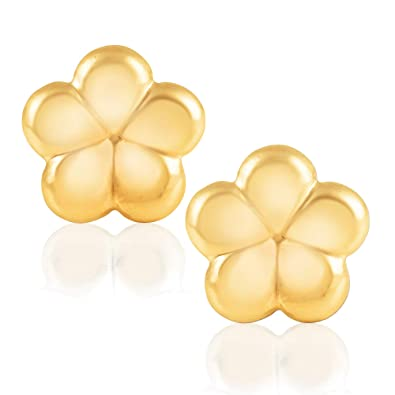 d203d5703667b 14KT Yellow Gold Flower Children's and Baby Girls Stud Earrings Version Two  – Charming with Secure Screw Back Safety Closure