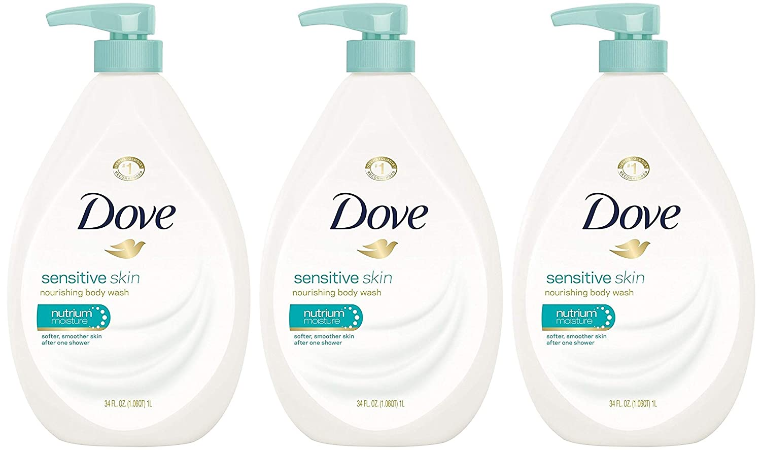 Dove Body Wash, Sensitive Skin Pump, 34 Ounce (Pack of 3)