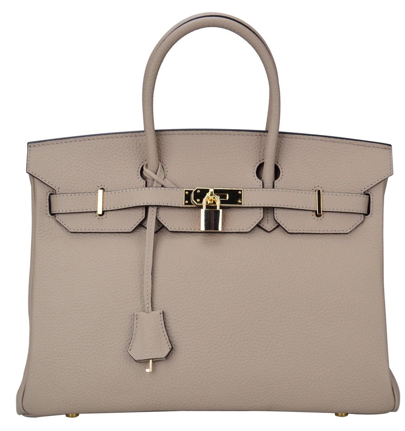 Ainifeel Women's Padlock Handbags with Golden Hardware (30cm, Taupe)