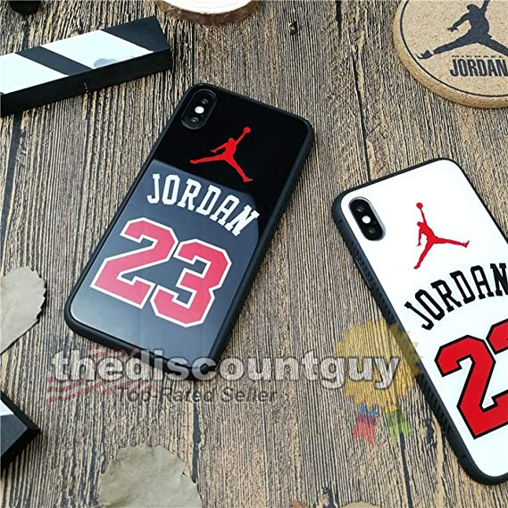f93ff43b1abb2 iPhone 6/6s Plus - Tempered Glass Jordan Phone Case Shiny Smooth Scratch  Resistant Silicone Protective Shell Basketball Mirror Black Red White  Glossy ...