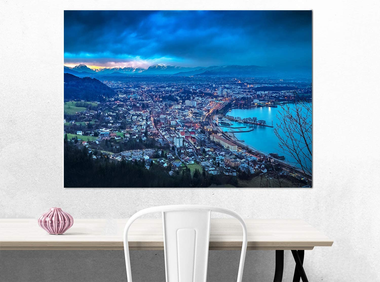 Bild auf Leinwand Berge und See Lichter Topquadro XXL Wandbild Leinwandbild 100x50cm Alpen Nachtlandschaften Panoramabild Keilrahmenbild Einteilig Bodensee