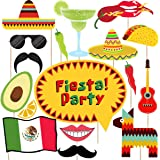 Fiesta Photo Booth Props - 33Ct Mexican Birthday Party Supplies Decorations