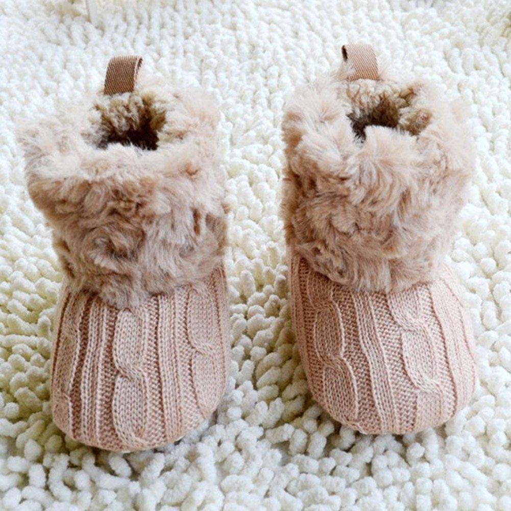 SODIAL (R) infantil del bebe del ganchillo / Tejer de lana Botas para nina pequena Lana Cuna Nieve Zapatos Botines Caqui - L: Amazon.es: Zapatos y ...