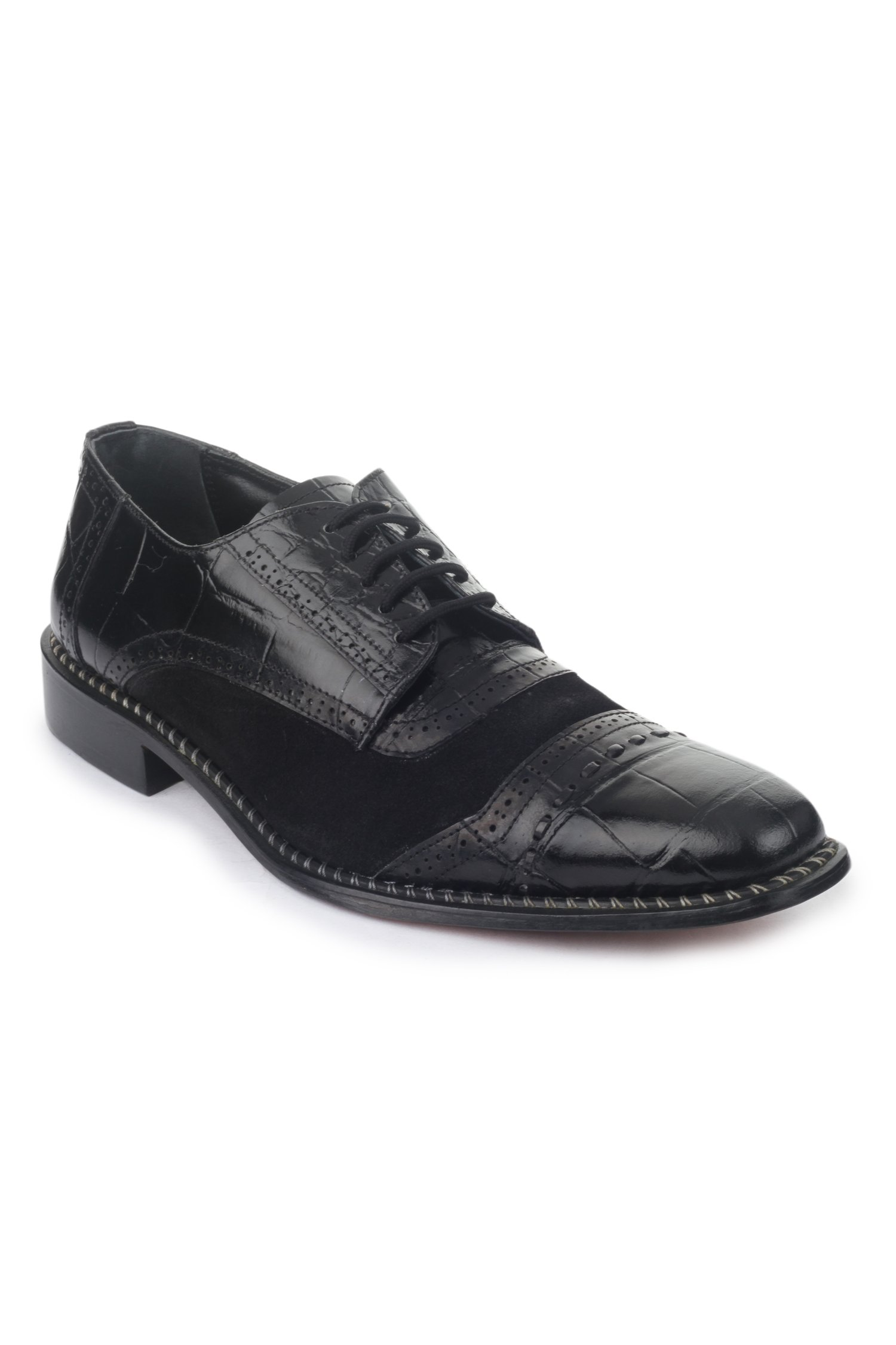Liberty Fortune Mens Croco Printed And Suede Leather Shoe Black 10 D(M) Us 14