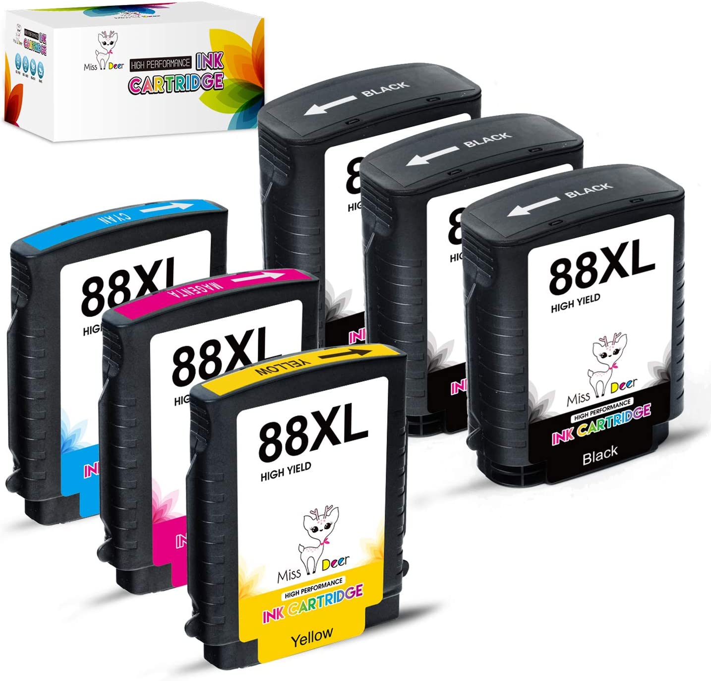 MS Deer Compatible 88XL Ink Cartridges, High Yield Replacement for HP 88 88XL Work with Officejet Pro K5400 K550 K8600 L7480 L7550 L7580 L7590 L7650 L7680 L7750 L7780 (3BK, 1C, 1M, 1Y) 6Pack