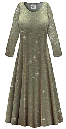 c5ed468f8 Olive Glitter Slinky Plus Size Long Sleeve A-Line Maxi Dress at ...
