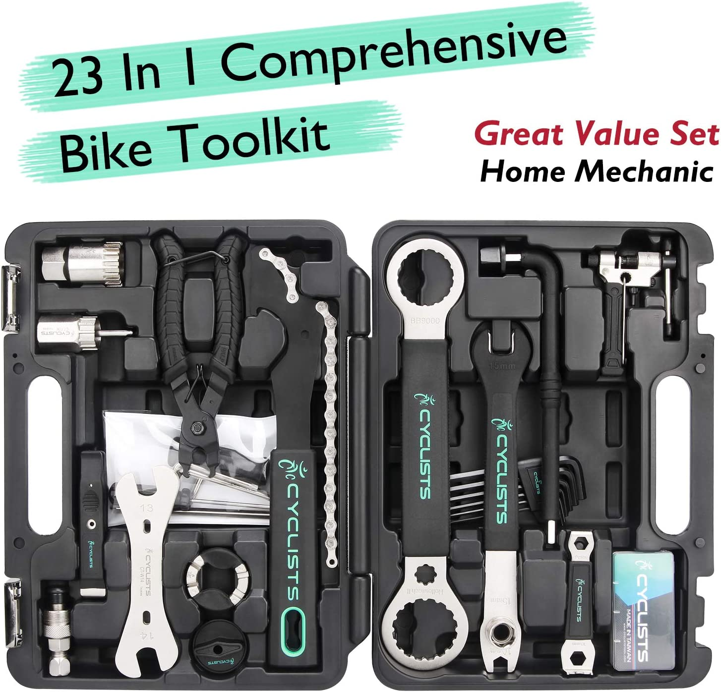 ColouredPeas Bike Repair Tool Kit Maintenance Set 26//44 Pieces with Tool Box Best Choice Professional Tool Kit for Repair Chain Bike Tire Pedal Wrench Brakes Lights Mountain Road Bike Bicycle