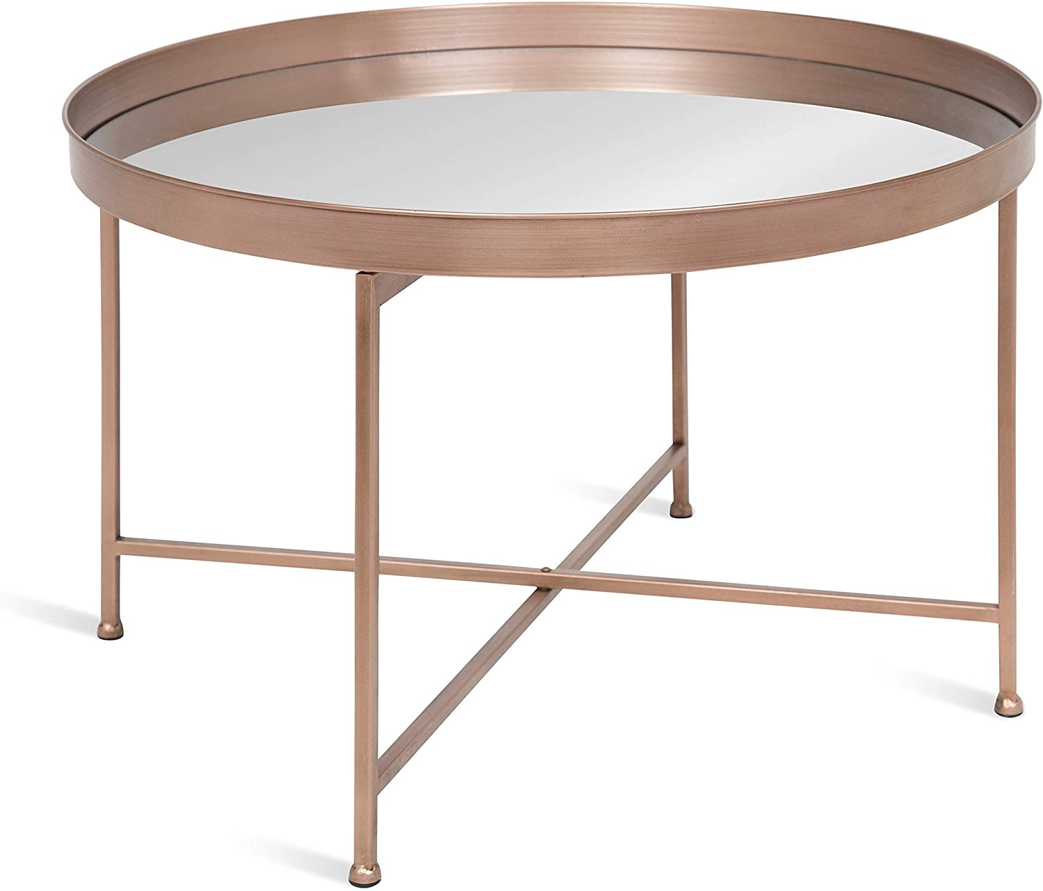 """Kate and Laurel Celia Metal Foldable Round Accent Coffee Table, 28.25"""" x 28.25"""" x 19"""", Mirrored Surface and Rose Gold Frame, Modern Minimalist Design and Detachable Magnetic Tabletop"""