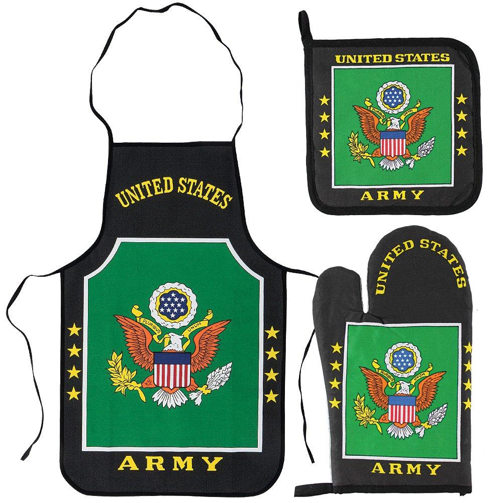 U.S. Army Kitchen & BBQ Set *New* w/ Apron, Oven-mitt and Pot holder Flag United States