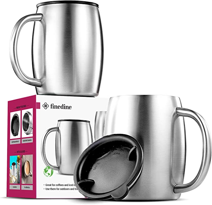 Stainless Steel Tea Coffee Water Cup Mug Drinking Set with Metal Stand Rack
