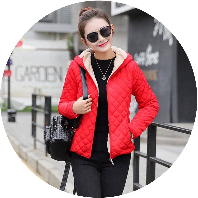Red sensitives Autumn Parkas Basic Jackets Female Women Winter Plus Velvet Lamb Hooded Coats Womens Outwear Coat
