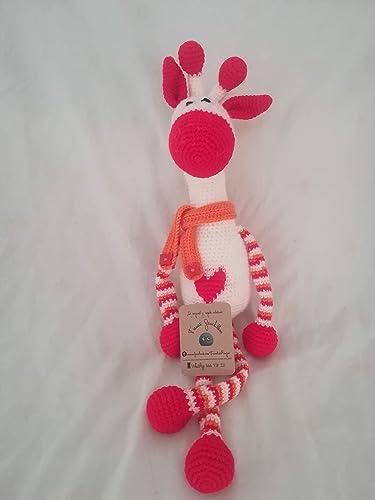 Jirafa tejida a ganchillo. Blanco/rojo/naranja. Regalo para bebé ...