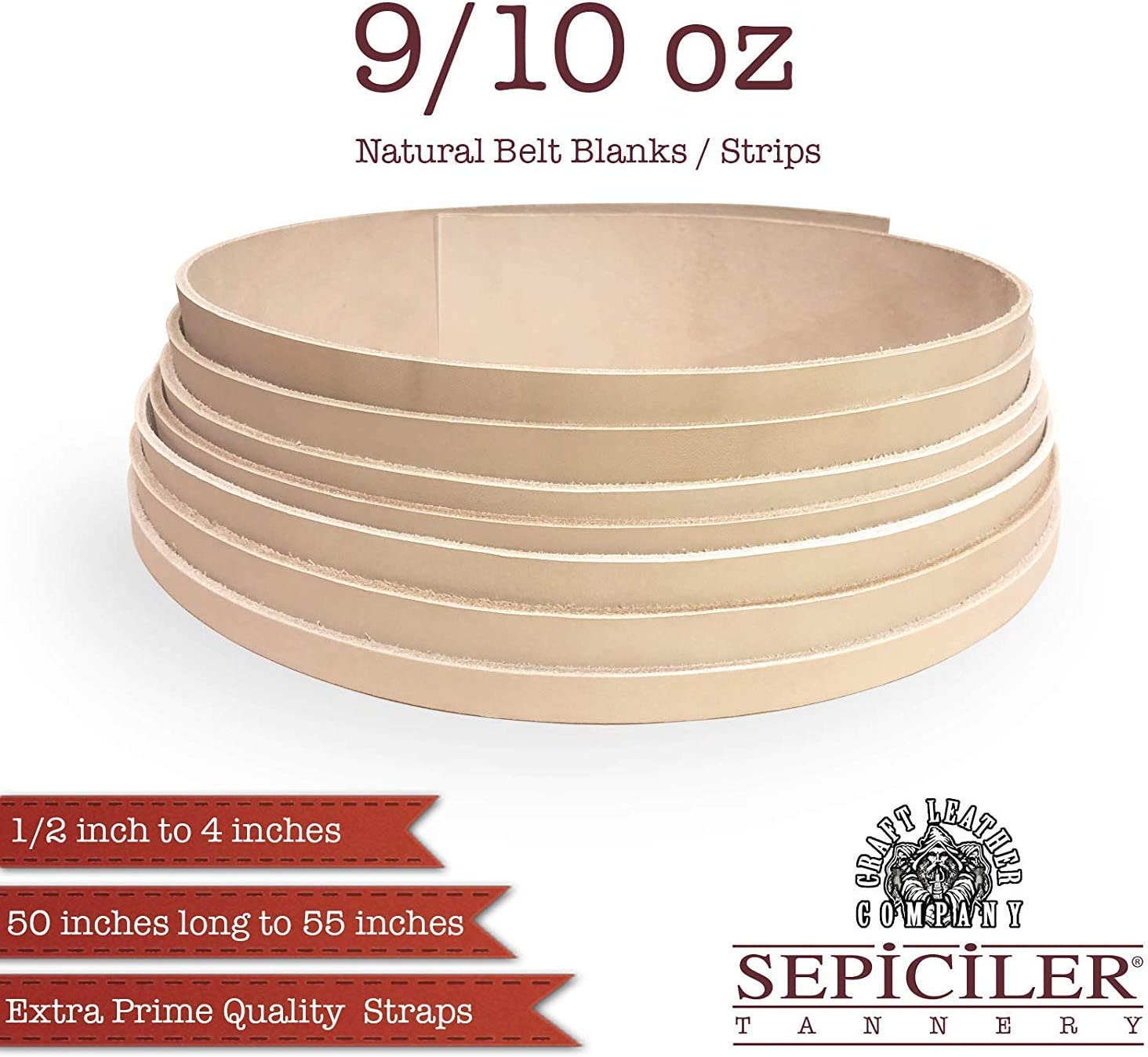 1-1//4 x 50 Import Tooling Leather 9//10 oz Natural Belt Blanks//Strips from Exclusive Vegetable Tanned Leather by Sepici Tannery