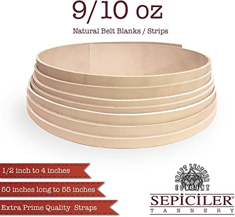 2-1//2 x 55 Import Tooling Leather 9//10 oz Natural Belt Blanks//Strips from Exclusive Vegetable Tanned Leather by Sepici Tannery