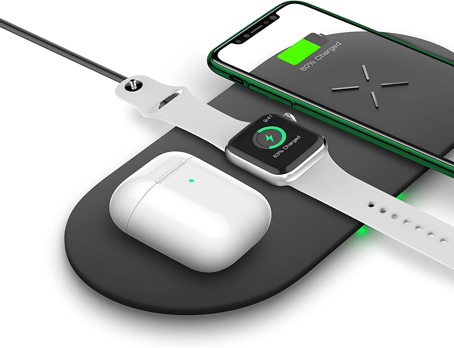 Wireless Charger Pad, 3 in 1 Fast Wireless Charger Stand,Qi-Certified 10W Max Wireless Charging for Airpods/iPhone 11/11 pro/XR/XS/ 7/8/8 Plus and Samsung and Apple Watch Series 1/2/3/4/5/6