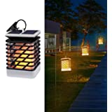 Quace Solar Powered Waterproof Auto on/Off Flickering Flame Hanging Decorative Atmosphere Lamp for Pathway Garden Deck, (Yellow)