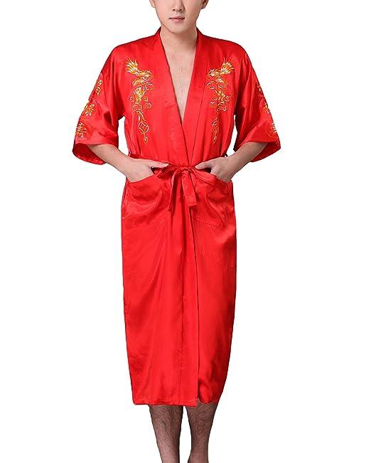 JTC - Bata, kimono, pijama, para hombre, de satén Naranja motif orange